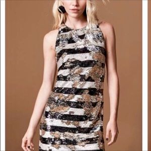 Eliza J gold sequin silver black white sheath 6/8